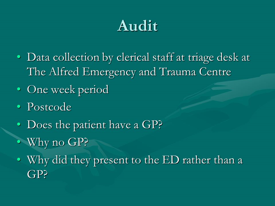 Audit results Data received from 503 patients presenting to the EDData received from 503 patients presenting to the ED 22% reported they did not have a GP22% reported they did not have a GP Recently moved (n=31, 6.2%)Recently moved (n=31, 6.2%) Unable to get an appointment (n=20, 4%)Unable to get an appointment (n=20, 4%) Didn't know how to find a GP (n=13, 2.6%)Didn't know how to find a GP (n=13, 2.6%)