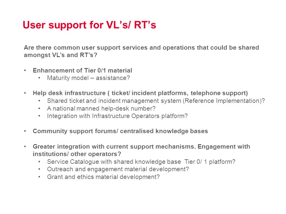 User support for VL's/ RT's Are there any mechanisms that could enhance user support for your application?