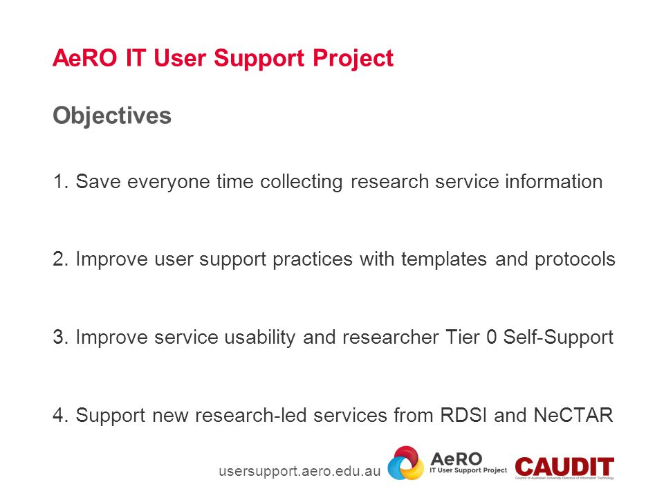 The AeRO IT User Support Project – What we have learned Three major groups that develop, deliver or provide support for eResearch capability.