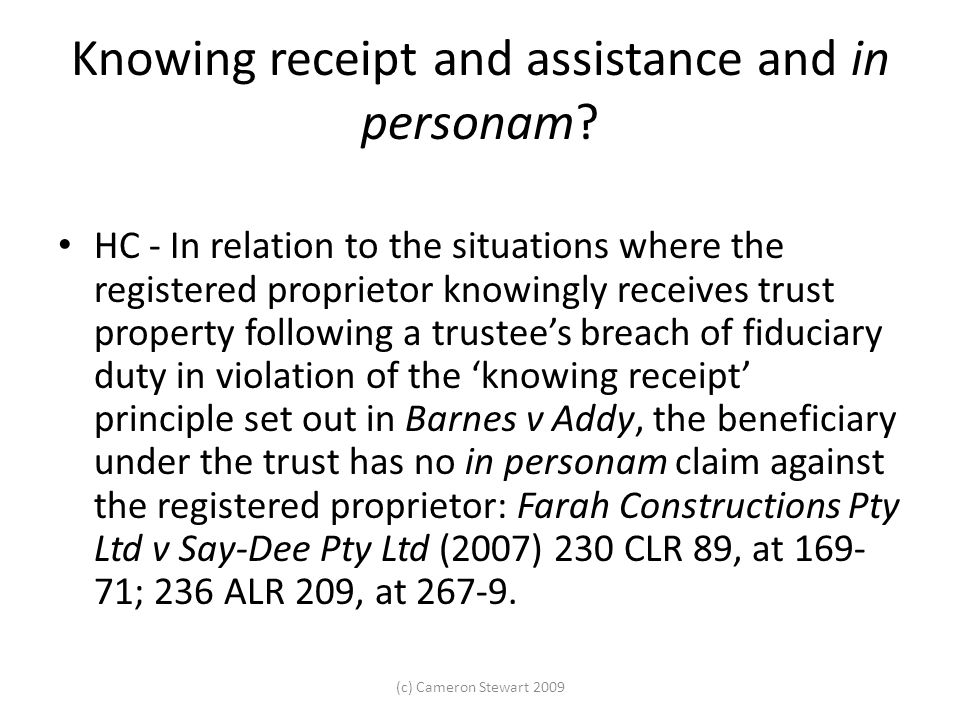 Knowing receipt and assistance and in personam.