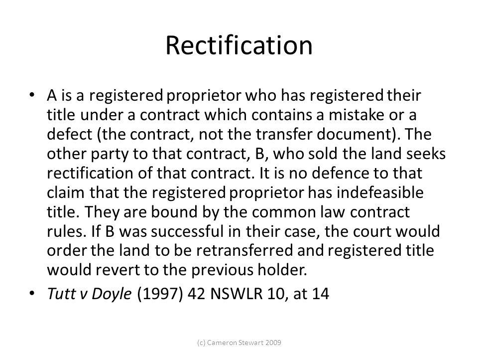 Rectification Lukacs v Wood (1978) 9 SASR 520.