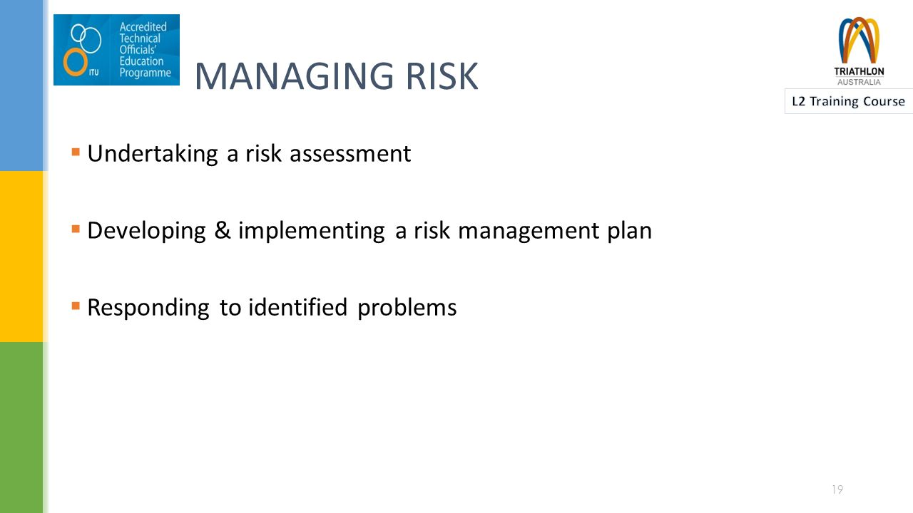 RISK MANAGEMENT PROCESS 5 Treat the risk 4 Evaluate the risk 3 Analyse the risk 2 Identify the risk 1 Establish the context 20