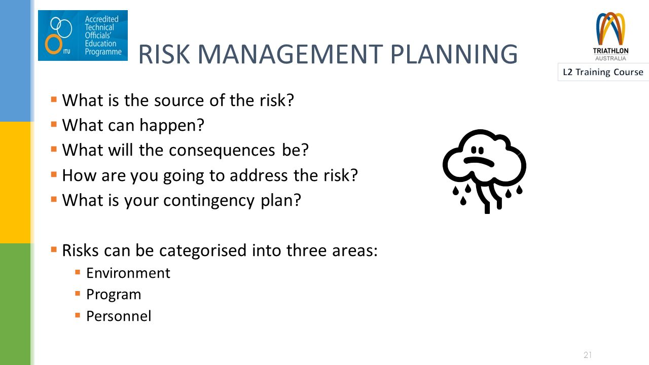 A RISK MANAGEMENT PLANNER Risk IdentificationStrategies to minimise risk WhenWho What is the source of the risk.