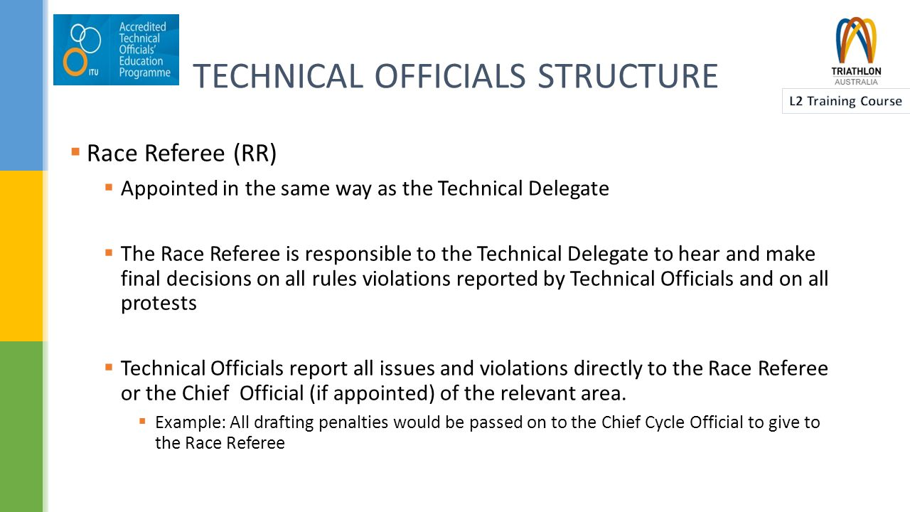  Chief Race Official (CRO)  Appointed in the same way as the TD and RR  Responsible to the Technical Delegate for the control and co-ordination of the deployment of Technical Officials  Point of contact if the Race Referee is unavailable