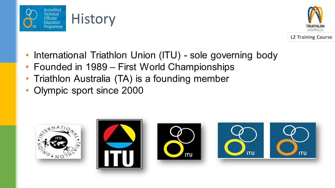  Triathlon came to Australia in the early 1980s  The first State Associations were formed in late 1984  In May 1986 the Triathlon Federation of Australia was formed  In 1991 the name was changed to Triathlon Australia (TA)  TA is part of the Oceania Triathlon Union along with New Zealand, PNG, Samoa etc.