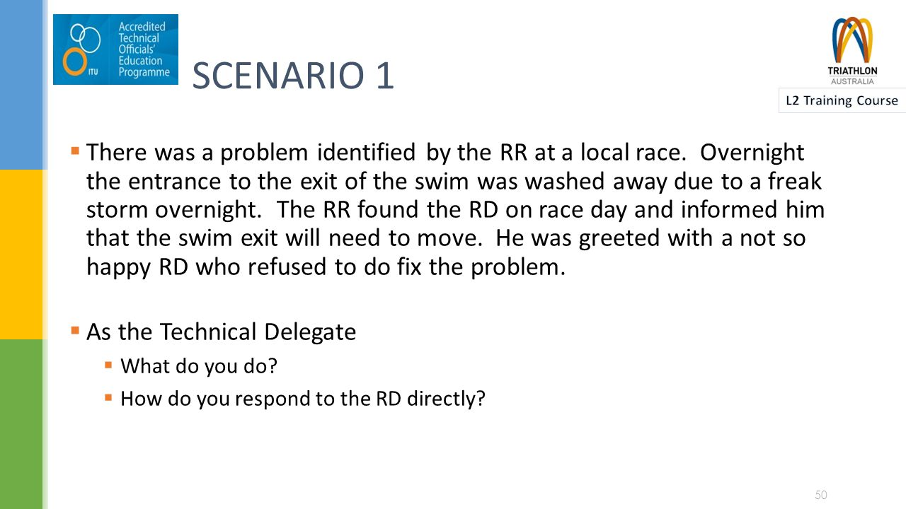 SCENARIO 2  A competitor comes into Transition from the Swim and collapses.