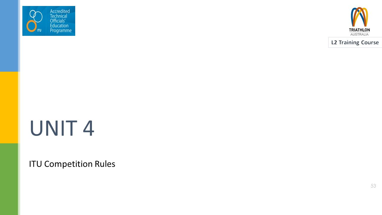  The ITU Competition Rules are intended to:  Create an atmosphere of sportsmanship, equality, and fair play.
