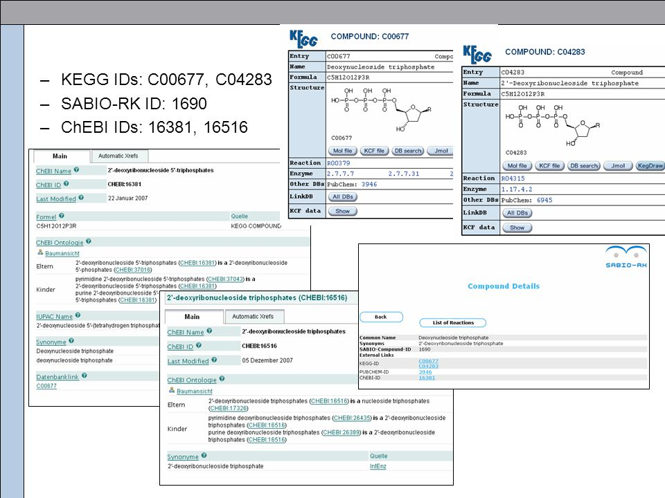 Identification of identical chemical compounds Goal:  Linking different databases by names of chemical compounds (e.g.