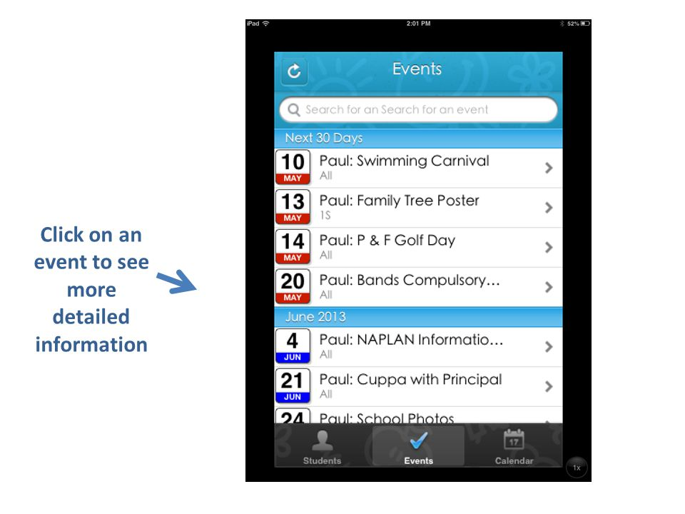 Date Event Class Other Information Click 'Calendar' to download to your smartphone