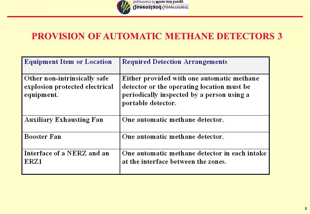 9 METHANE DETECTORS- RESPONSE LEVELS 1