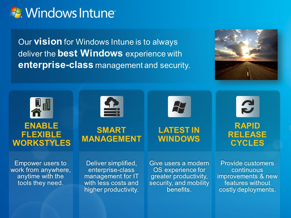 Update management Malware protection Hardware, software, and license inventory Remote Assistance Mobile Device Management Full Group Policy Support Operating system distribution Alerts & Monitoring** Software Distribution Active Directory Federation