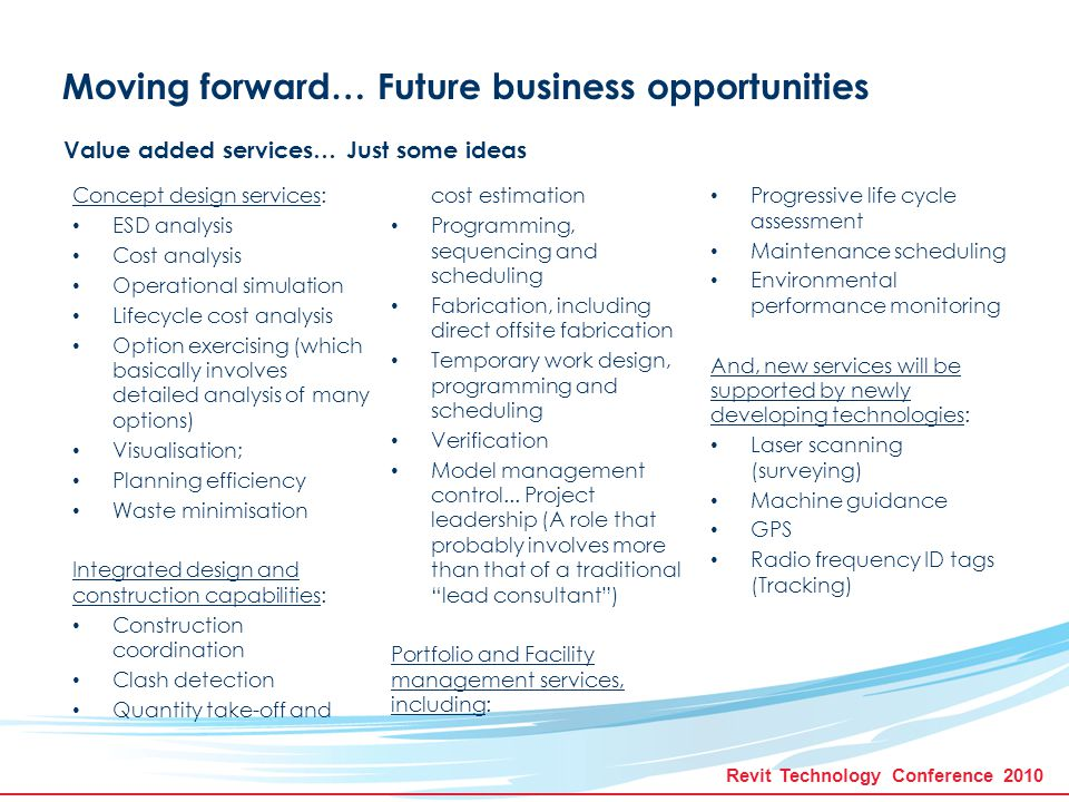 Revit Technology Conference 2010 Summary As our we progress on our path to BIM maturity nirvana, we're all grappling with similar issues, albeit in different contexts and circumstances and with different priorities.