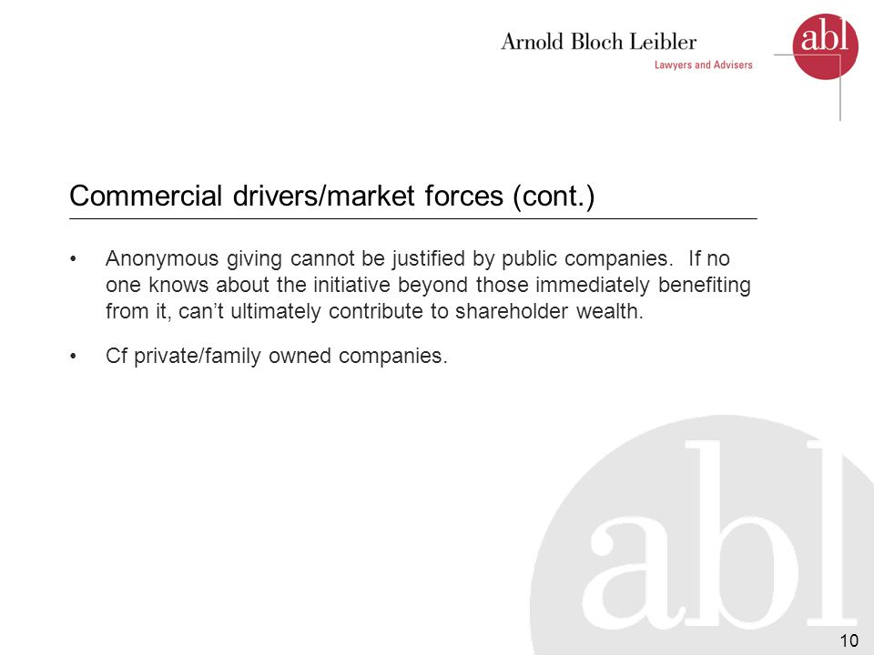 11 Internal drivers Positive impact of CSR on motivation, commitment, loyalty, training – helps retain brightest and best.