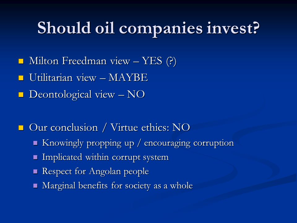 Encouraging ethical conduct within the oil industry Discouraging misconduct Pressure groups Pressure groups Consumer / media pressure on companies Consumer / media pressure on companies Govnt pressure Govnt pressure Encouraging ethical conduct Ethical awards Ethical awards Independent ethical body Independent ethical body Industry code of conduct Industry code of conduct Ethical awareness seminars / ethical awareness day Ethical awareness seminars / ethical awareness day