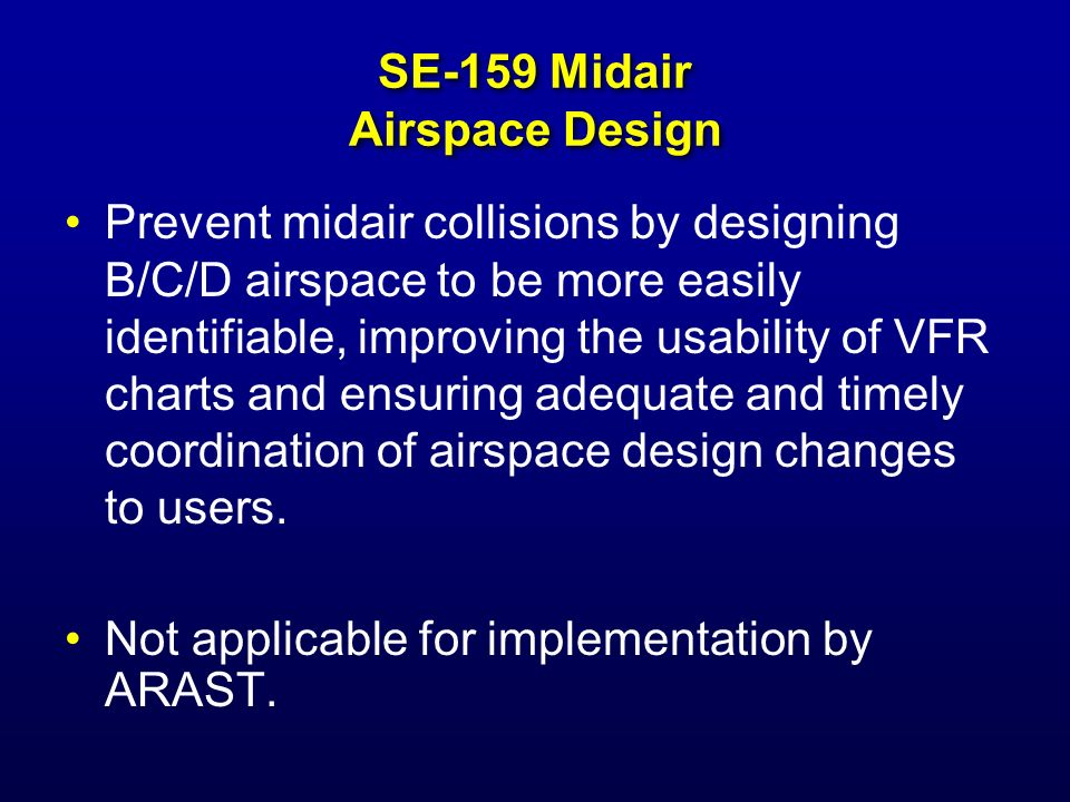 SE-162 Midair Prevent midair collisions by facilitating aircraft separation for users of advanced navigation systems not receiving ATC separation services.