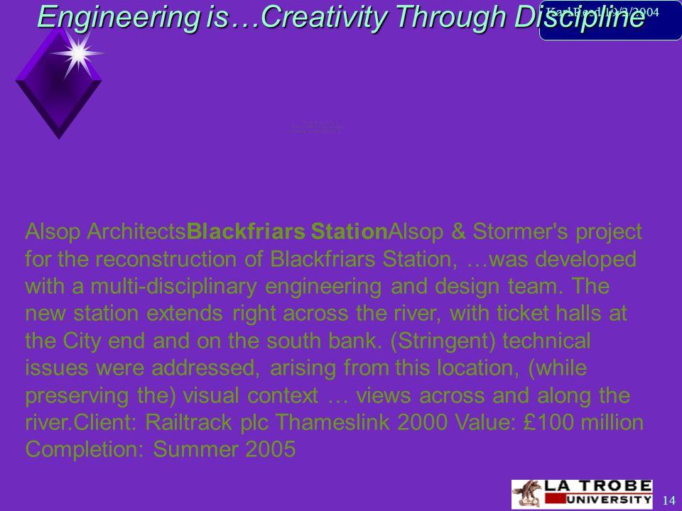 15 Karl Reed 19/2/2004 Engineering is…Creativity Through Discipline