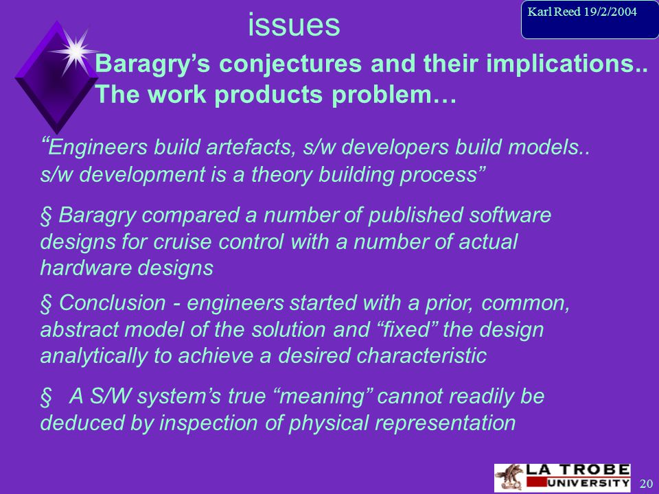 21 Karl Reed 19/2/2004 issues Baragry's conjectures and their implications..