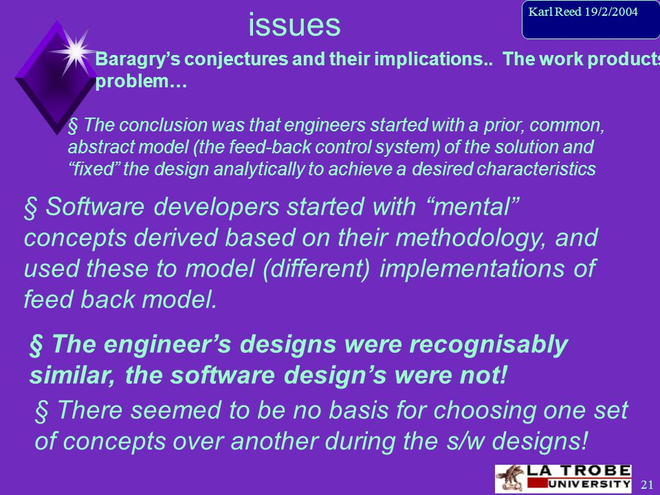 22 Karl Reed 19/2/2004 issues Baragry's conjectures and their implications..