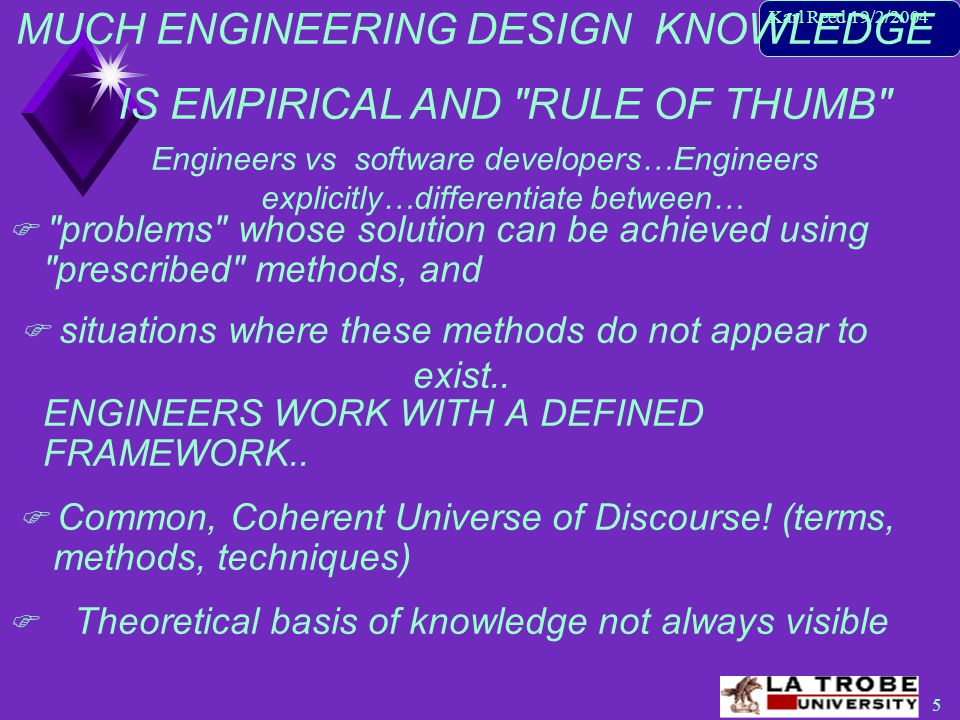 6 Karl Reed 19/2/2004 Engineers… design artefacts to interface with the real world… (Baragry 1997) Engineers vs software developers… (cont'd) S/W developers… attempt to build models of real- world phenomena ENGINEERS DON'T BUILD SYSTEMS!.
