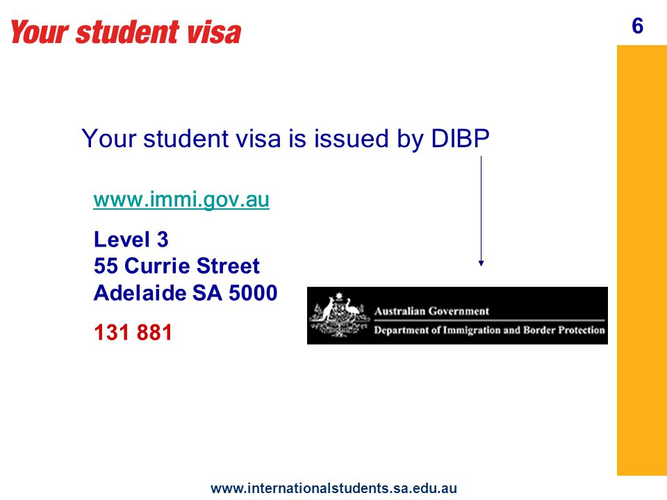 Your student visa www.internationalstudents.sa.edu.au issues your visa grant notice It includes your visa conditions and entitlements 7