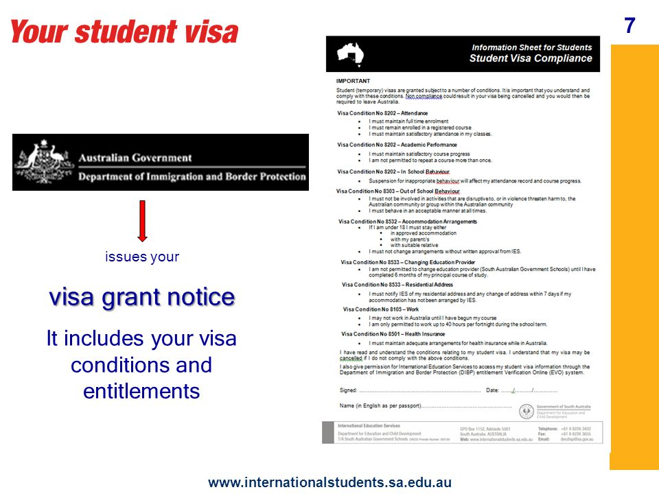 Your student visa www.internationalstudents.sa.edu.au Attendance You need to be enrolled full time in a registered course maintain satisfactory attendance get a medical certificate from a doctor if you are sick Attend all classes 8