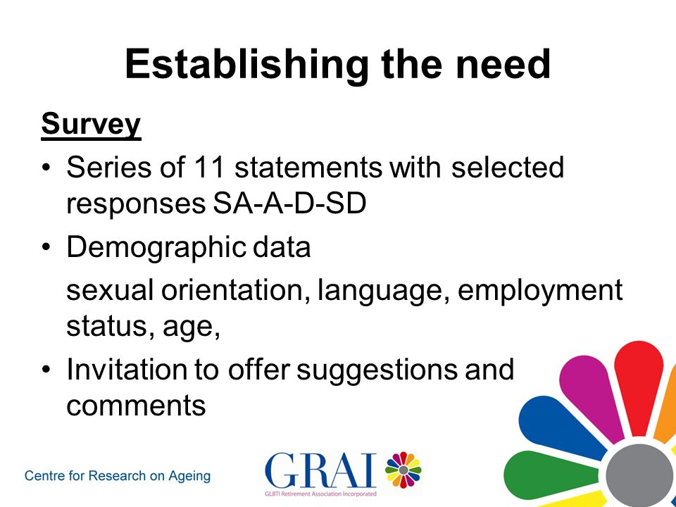 Establishing the need Focus groups What are key issues How well are needs currently met How can GRAI affectively advocate What individual commitment are individuals prepared to make