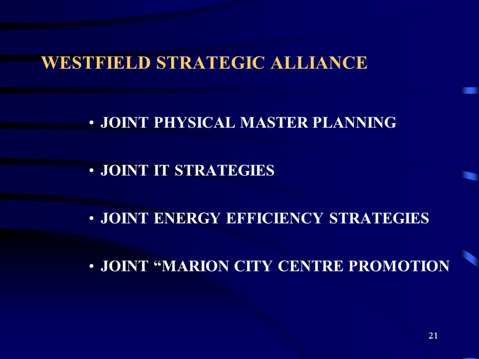 22 TELSTRA STRATEGIC ALLIANCE City of Marion and Telstra - Strategic alliance partners since 8 th July 1998