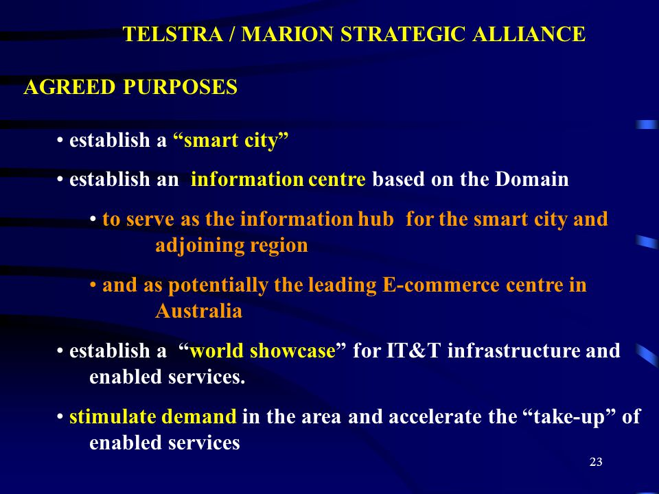 24 TIMEDANCE STRATEGIC ALLIANCE ASPECT COMPUTING IT Strategic Business Consulting, Project Management (IT), System Integration, Applications Development KINSMEN Commercial Identification, Project Management (Physical), Procurement, Operation &/or Transfer Online services role (through Marion Online ) To provide a commercially viable community based online services gateway for products & information