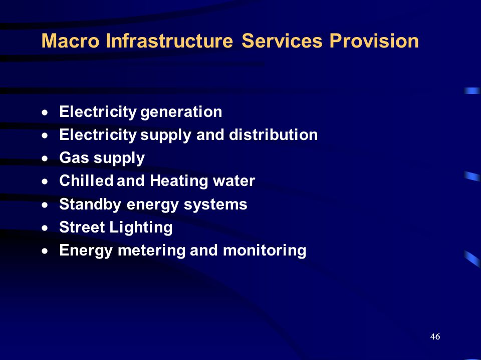 47 Micro Infrastructure Services Provision  Air conditioning and ventilation systems  Mechanical services  Power distribution systems  Lighting systems feature and functional  Building automation and energy management  Active and passive systems  Support engineering  Facilities Management  Thermal facade and operational modelling  Energy predictions and performance guarantees  Energy Consulting Activities