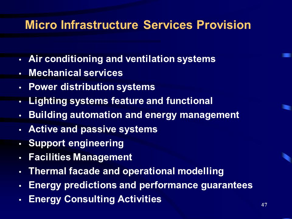 48 Energy Management & Control Systems Ongoing Asset Management Continued Auditing Sophisticated Remote Monitoring Centralised Network Alarms Remote Meter Reading of All Utility Services Ability to Check Energy Usage On Screen Energy Demand Management Only One Bill for all Utility Services Electronic Bill Payment