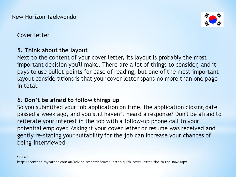 New Horizon Taekwondo Cover letter - Tips http://www.nabthatjob.com/australiancoverlettertips.htm Source: Don t Write An Essay.
