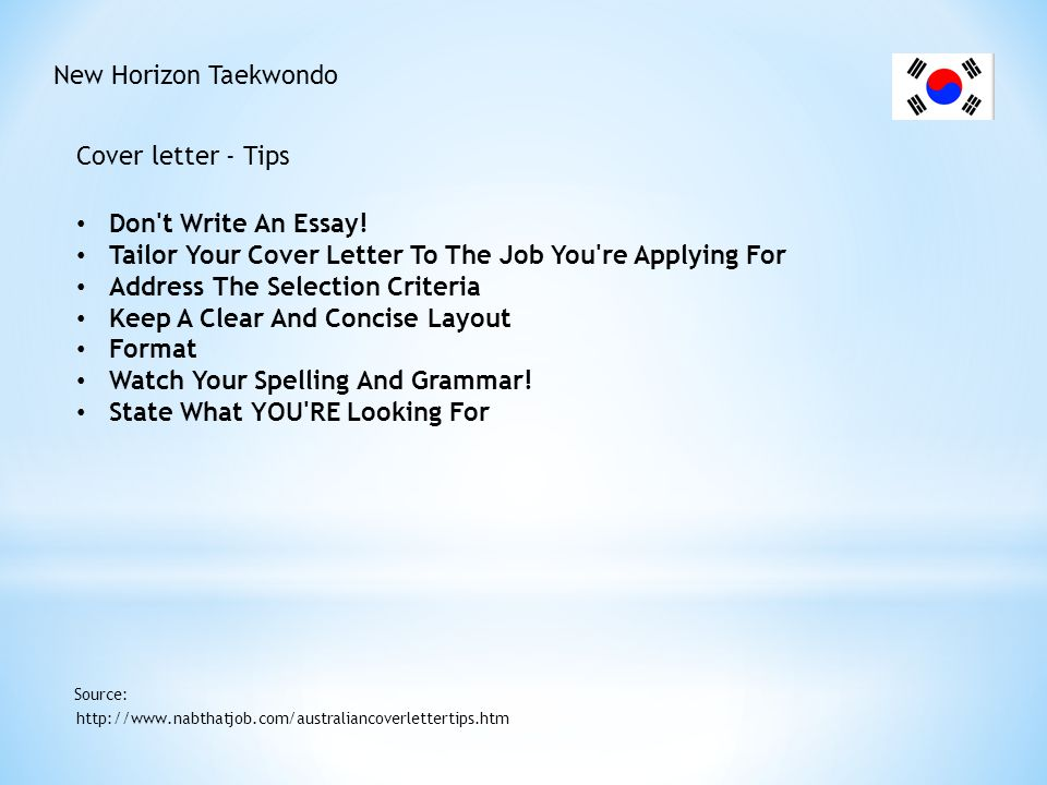 New Horizon Taekwondo Cover letter - Sample http://www.seek.com.au/jobs-resources/get-your-dream-job/coverletter-admin Source: Dear Mr Klein I wish to apply for the position of Personal Assistant (your reference 0900/A) as advertised on SEEK.