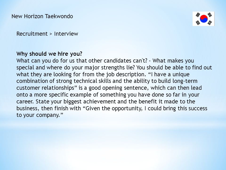 New Horizon Taekwondo Recruitment > Interview What are your goals.