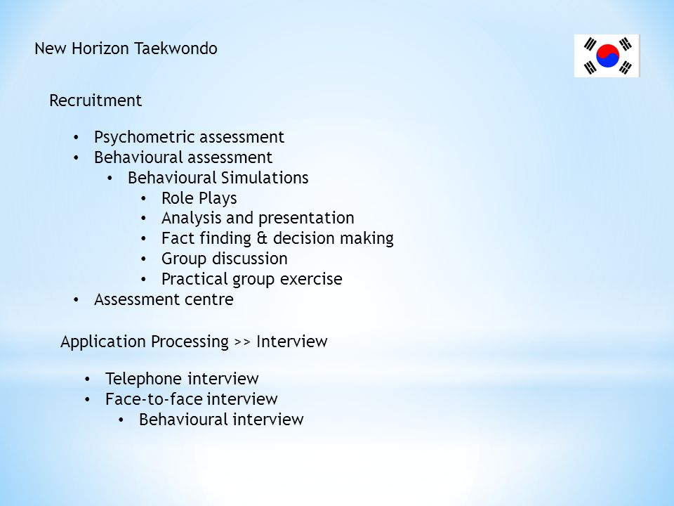 New Horizon Taekwondo Reference check Medical check Examples of HR Information Systems CHRIS 21 (Comprehensive HR Integrated Solution) ezyHR 2Interact HRMS Epicor HRM HR Online Sage HRMS Humanic Design ADP Workforce Now etc.
