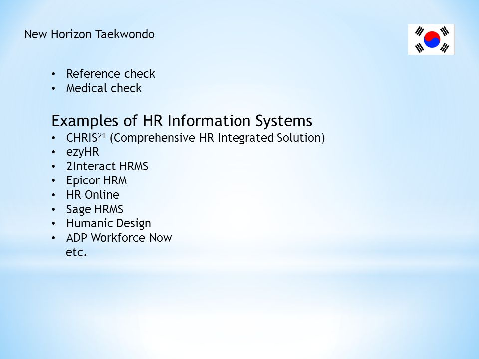 New Horizon Taekwondo Induction Introduction Amenities Company introduction Organisational structure Code of conduct Policies OHS Expectations Breaks Forms Tax File Number Declaration form Choice of superannuation form Bank nomination form Equipment issuance form