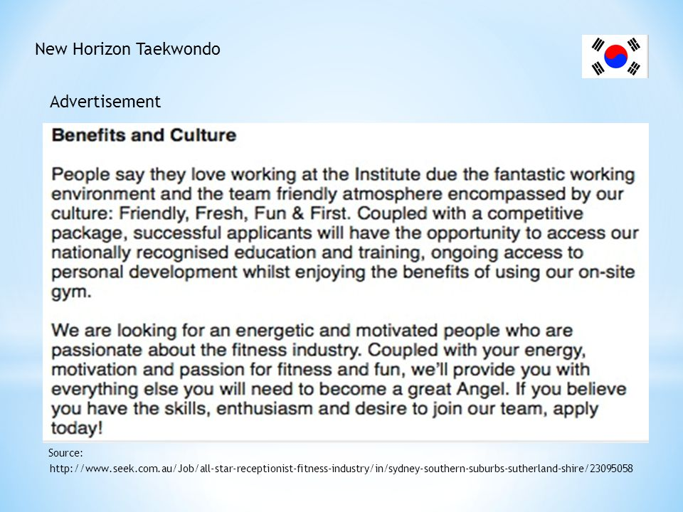 New Horizon Taekwondo Cover letter http://content.mycareer.com.au/advice-research/cover-letter/quick-cover-letter-tips-to-use-now.aspx Source: 1.