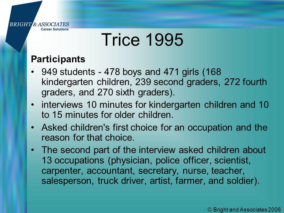 © Bright and Associates 2006 Trice 1995 Top three vocational choices of children GirlsBoys LawyerPoliceman TeacherPilot VetAthlete
