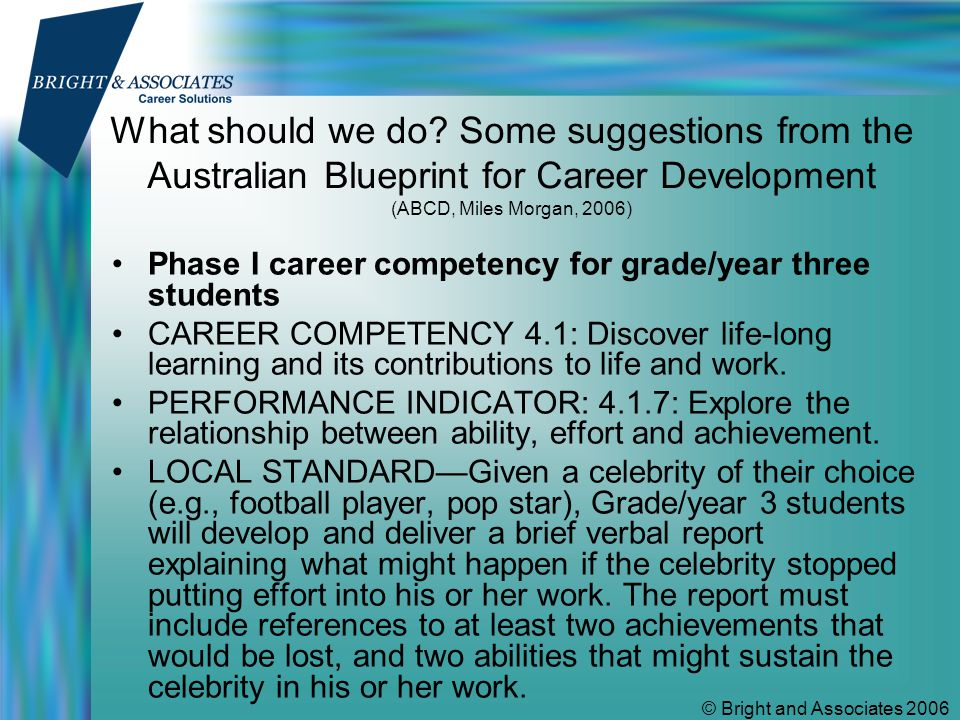 © Bright and Associates 2006 ABCD example2 Phase I career competency for grade/year five students CAREER COMPETENCY 1.1: Build a positive self image while discovering its influence on self and others.