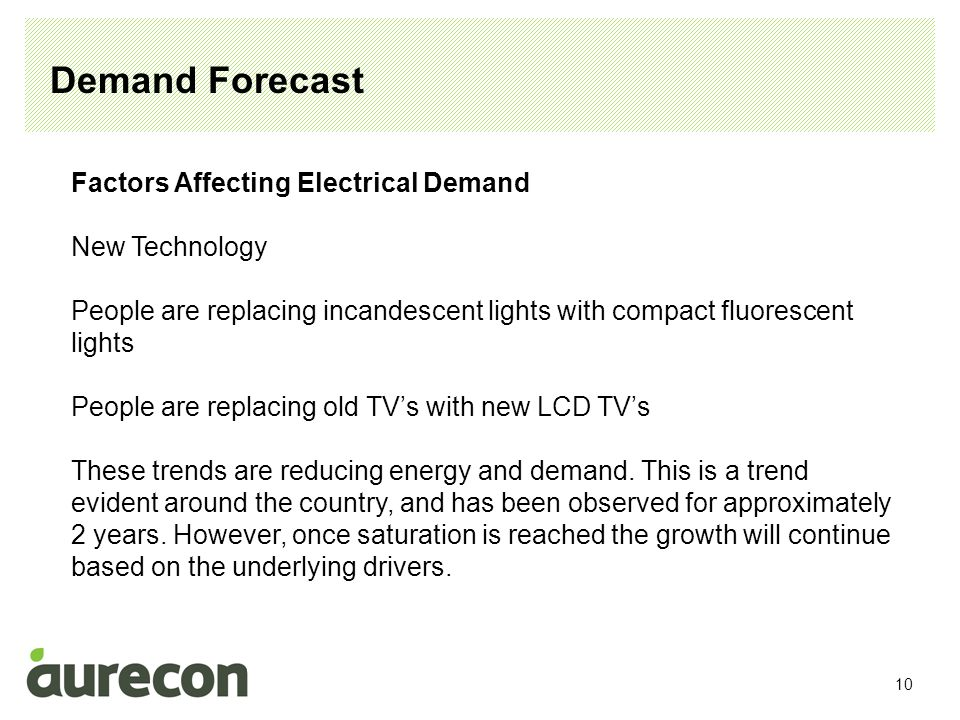 11 Demand Forecast Factors Affecting Electrical Demand Distributed Solar PV Distributed Storage As prices come down people will adopt solar PV installations in concert with battery storage.