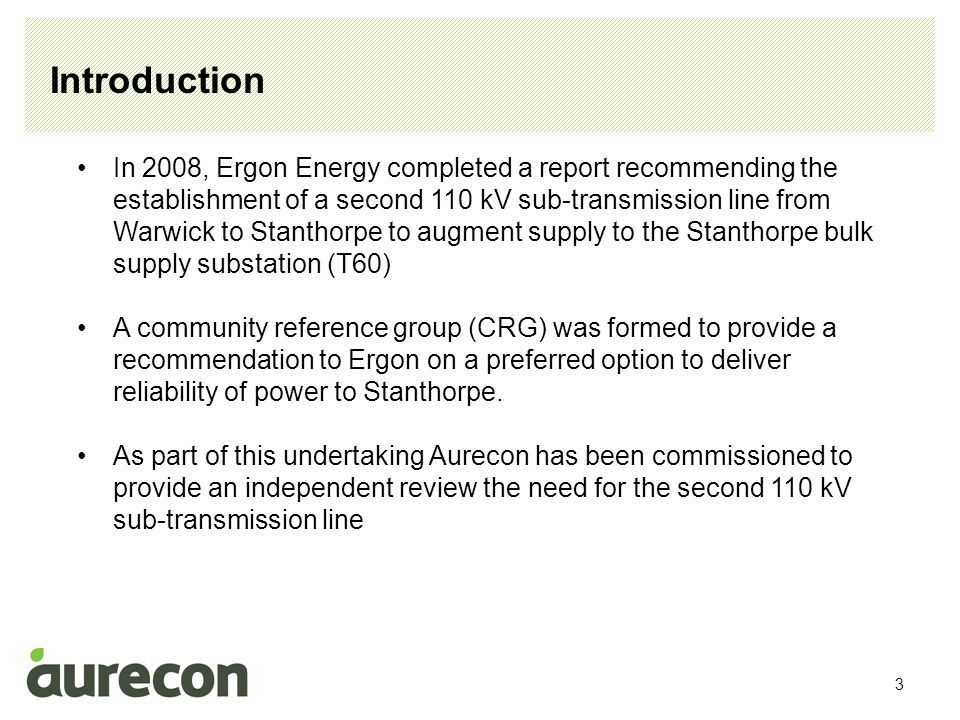 4 Aurecon capability and experience Aurecon has been involved in numerous electricity infrastructure projects for electricity utilities, independent power producers and independent network owners around the country, We understand the operation and development of electricity networks.