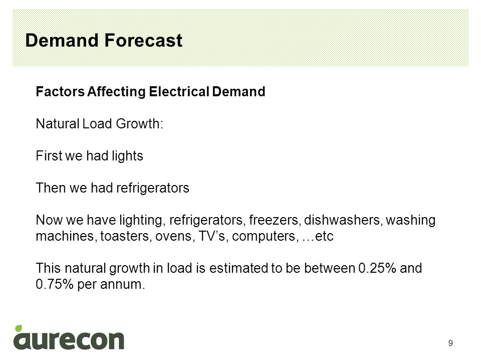 10 Demand Forecast Factors Affecting Electrical Demand New Technology People are replacing incandescent lights with compact fluorescent lights People are replacing old TV's with new LCD TV's These trends are reducing energy and demand.