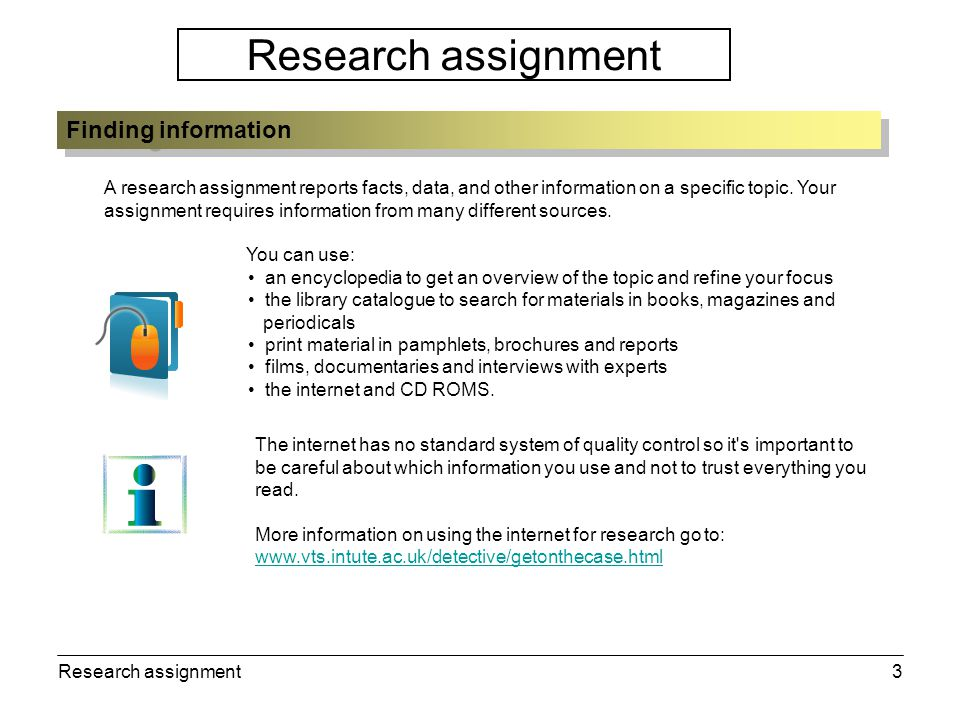Research assignment4 You need to decide on the most appropriate way to present your research.