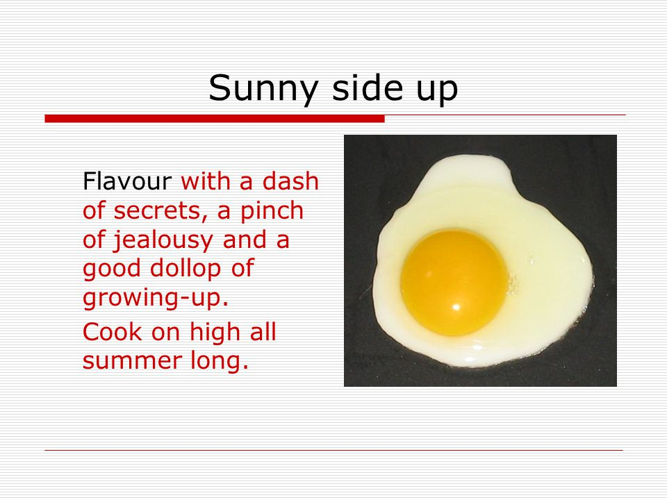 Sunny side up Sunny side up is a story about surviving a heat-wave, running a business, avoiding headlice, loving your dog, keeping secrets, saying goodbye and hello, and finding out what really matters.