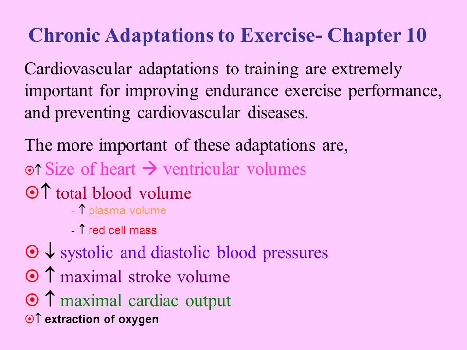 Factors Affecting Chronic adaptations Initial CV fitness Training: –Frequency- 3 x p/week Only slightly higher gains for 4 or 5 times p/week –Intensity Most critical Minimum is 130/ 140 bpm = (av) 50-55% Vo2 max/ 70% HR max Higher = better –Time Or duration- 30 min is minimum –Type Specificity