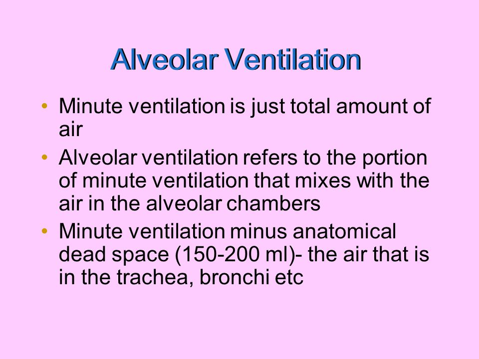 Alveolar Ventilation = Minute ventilation (TV x breathing rate) – dead space