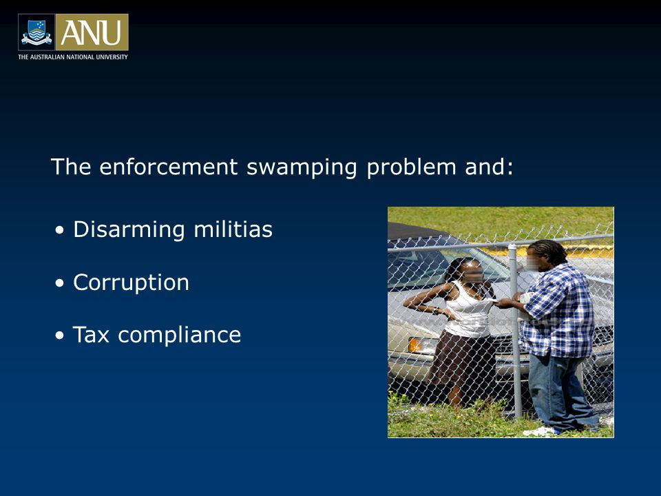 The enforcement swamping problem and: Disarming militias Corruption Tax compliance