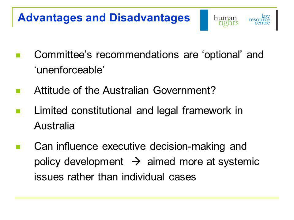 Further Information OHCHR (www.ohchr.org)www.ohchr.org Handbook for NGOs Committee pages: http://www.ohchr.org/EN/HRBodies/Pages/HumanRightsBodies.aspx HRLRC (www.hrlrc.org.au)www.hrlrc.org.au Human Rights Law Resource Manual – Ch 6 CAT – NGO Report, fact sheets, Concluding Observations ICESCR – FREDA Report, List of Issues