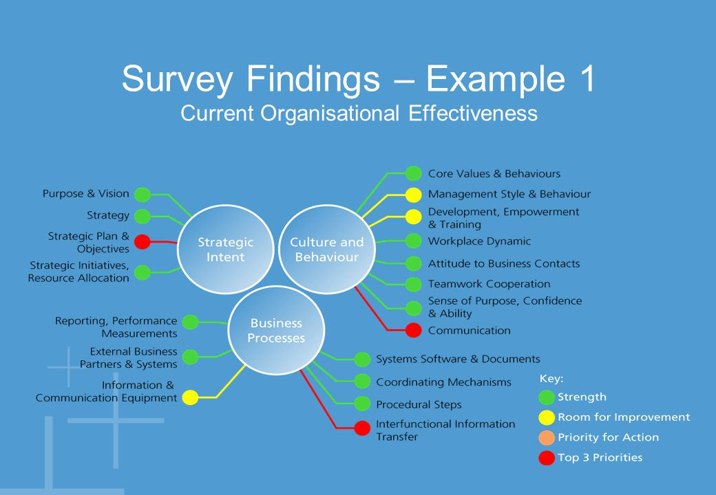 Survey Findings – Example 2 Current Organisational Effectiveness