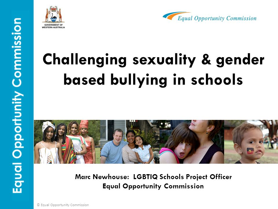© Equal Opportunity Commission Context In 2010 the third Writing Themselves In national survey was undertaken by the Australian Research Centre in Sex Health & Society (La Trobe University) 3134 people from all over Australia aged 14 to 21 years surveyed  75 % experienced some homophobic abuse  61% experienced verbal homophobic abuse  18% experienced homophobic physical abuse  80% of this abuse happened at school.