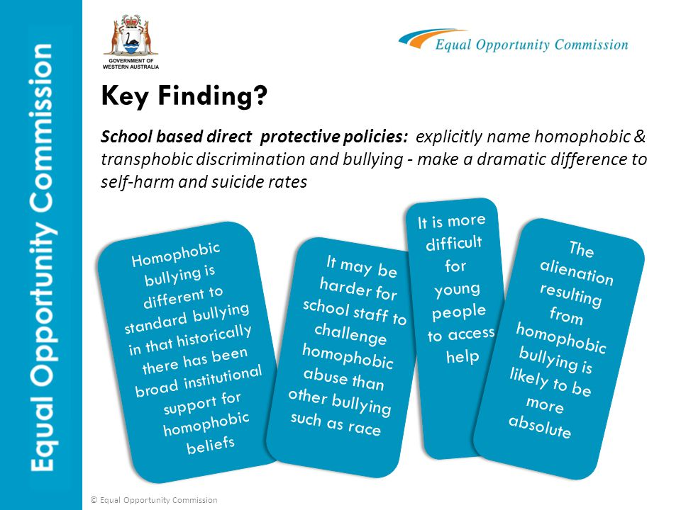 © Equal Opportunity Commission 12 Specifies to educators that GLBTI young people are a at risk group Guarantees inclusive education for GLBTI young people  Flow through of guidelines, programs, curriculum and support Expects principals to know about GLBTI issues Relies on individual teachers to include what they believe constitutes diversity Leaves open the possibility of homophobic/transphobic teachers to present GLBTI young people negatively No flow through Direct Indirect